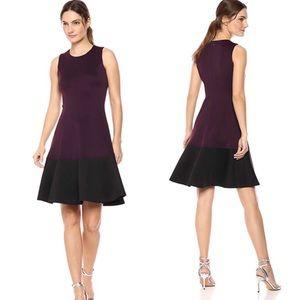 NWT Calvin Klein Burgundy/Blk A Line Dress Sz 14W
